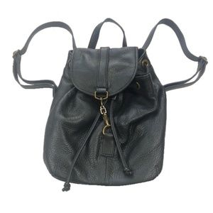 Margot black leather pebbled backpack bucket bag